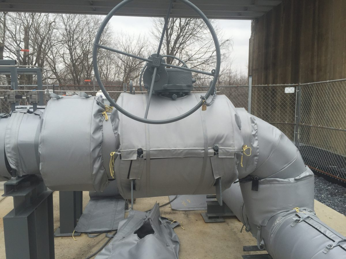 Outdoor Ball Valve Insulated by Thermaxx Jackets that is exposed to the elements such as rain and snow.