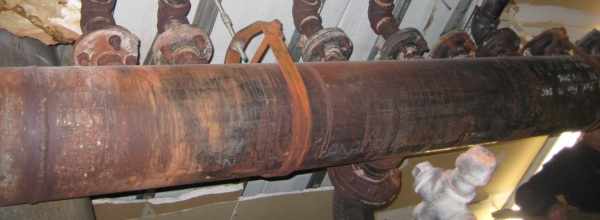 large uninsulated pipe