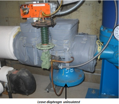 Pressure reducing valve with Insulation Jacket and exposed diaphragm