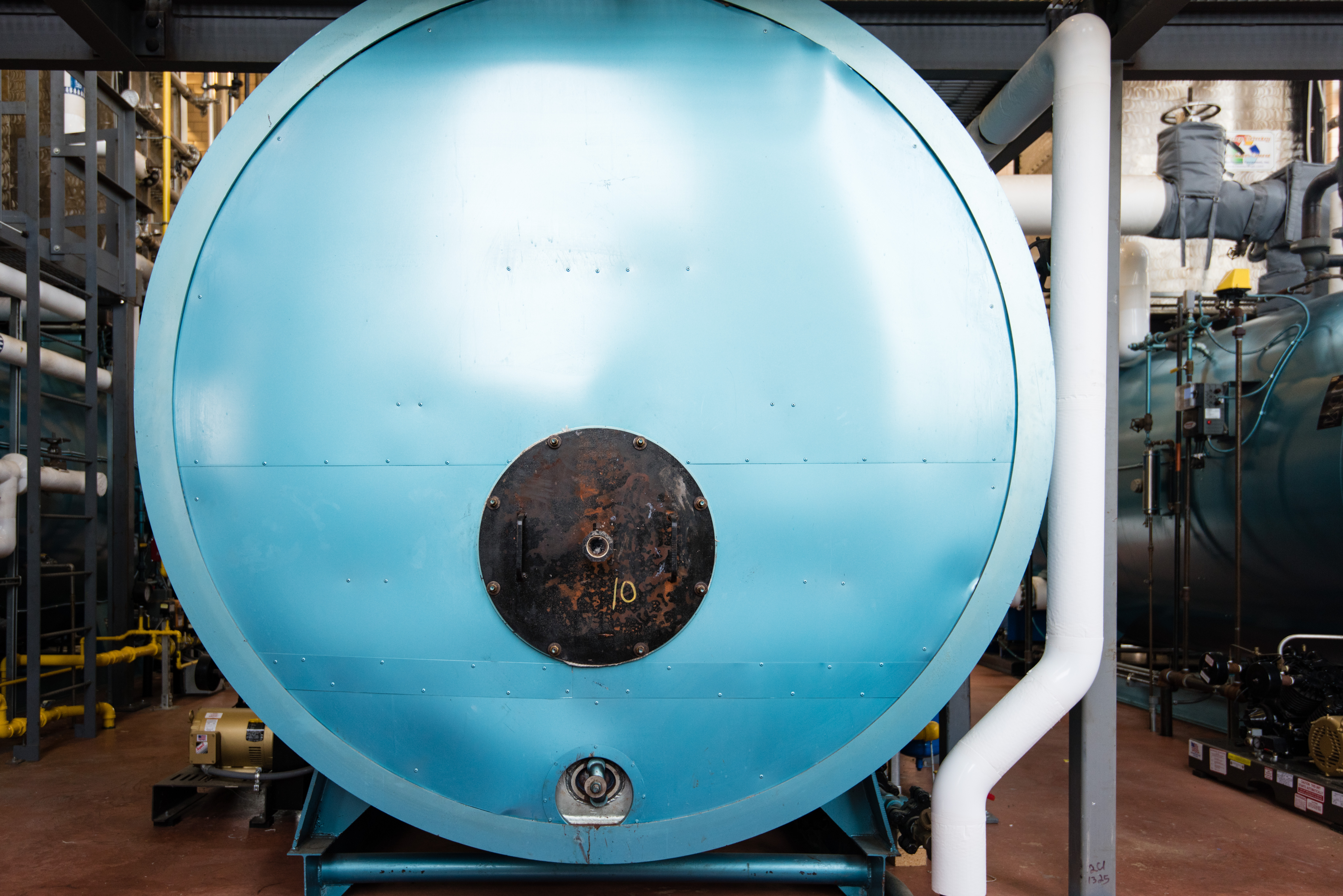 A Bare Boiler Drum Wasting Energy