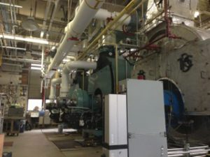 Inside the central heating plant