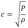 Equation that shows how to calculate the speed of sound.