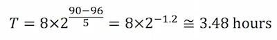 To determine the allowable exposure to 96 dBA, we would calculate as follows: