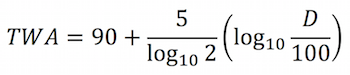 To convert from percentage dose (D) to TWA, the following formula can be used