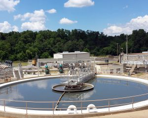 Primary clarifier at Siloam Springs Wastewater Treatment Plant in Siloam Springs, AR.
