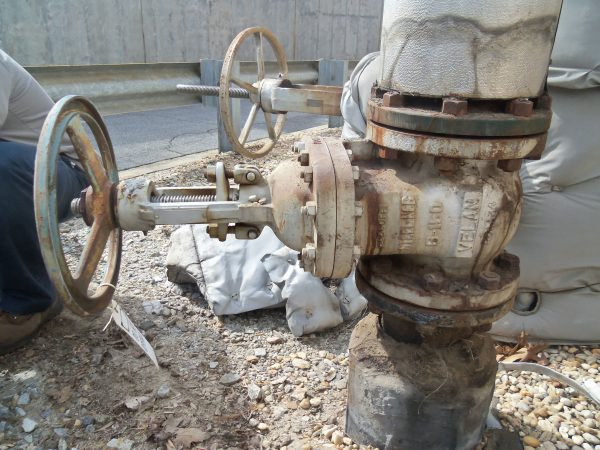 6 inch outdoor steam gate valve before