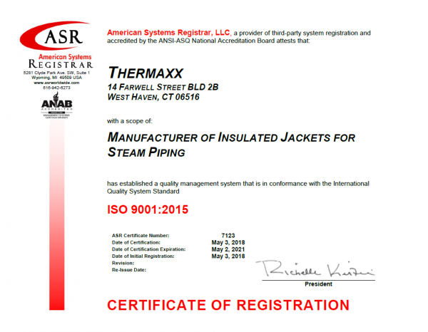 ISO 9001:2015 Certificate Thermaxx Jackets Insulation Manufacturer