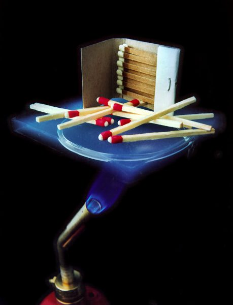 Aerogel protecting matches from a flame