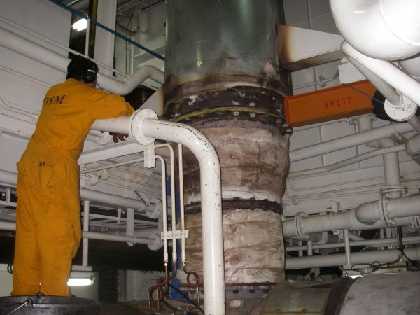 Ship Engine Exhaust With Insulation